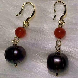 18K Gold Plated Black Baroque Pearl Dangle Earring